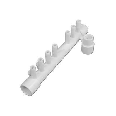 "Plumbing Manifold 1/2""S x 1/2""S x (7) 3/8""RB Ports w/ 2 Plugs"