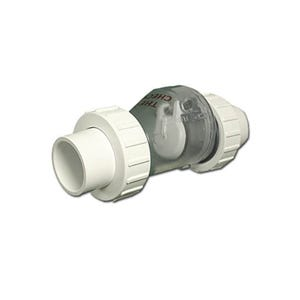 """Check Valve 1/2lb Spring, 1"""" x 1"""" Unions, Clear"""