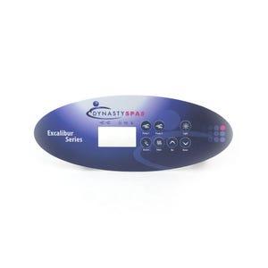 Keypad Overlay Spa Side Overlay, Dynasty Spas, K-52-DY1, Excaliber Logo, SSPA-MP, 7 Button, LCD