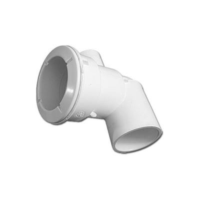 "Poly Jet Jet body Ell Body, 1-1/2""S Water x 1/2""S (1""Spg) Air, 2-5/8"" Hole Size w/ Wall Fitting, White"