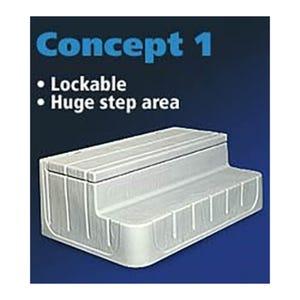 "Spa Step Storage Steps, Gray, Height 17"" Width 42"" Depth 27"""