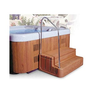"Spa Step Storage Steps, Redwood, Height 17"" Width 42"" Depth 27"""