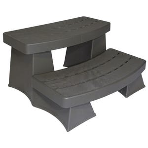 "Spa Step Storage Steps, Gray/Black, Height 17"" Width 42"" Depth 27"""