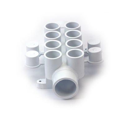 "Plumbing Manifold 1-1/2""S x 1-1/2""Spg x (8) 3/4""S Ports w/ 4 Plugs"