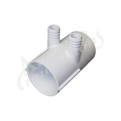 "Plumbing Manifold 2""Slip x 2""Slip x (2) 3/4""Ribbed Barb Ports"