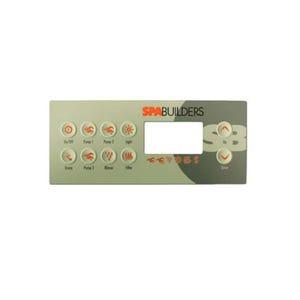 TSC Series Keypad Overlay Overlay, Spaside, Gecko TSC8, 10-Button, Pump1-Pump2-Pump3-Econ, For 0201-007153
