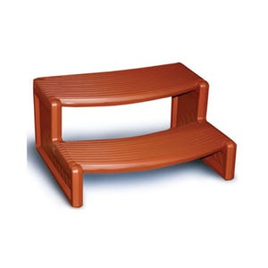 """Spa Step Double Step, Redwood, Height 14"""" Width 27"""" Depth 23"""""""