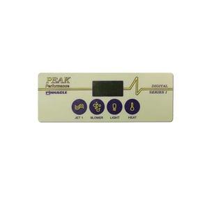 Keypad Overlay Overlay, Spaside, Pinnacle PCU, 4-Button, Jets-Blower, Light-Temp, For PP-102